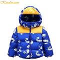 Kindstraum 2016 nuevos bebés del invierno impreso chaqueta de plumón de pato de alta calidad gruesa ocasional outwear abrigo de paño caliente para los niños, mc108