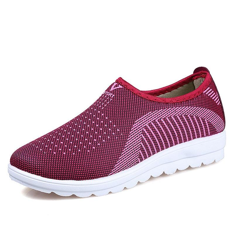 Shoes Women Vulcanized Shoes 2019 Summer Mesh Casual Shoes Cotton Loafers Women Flats Casual Walking Stripe Sneakers YeddaMavis