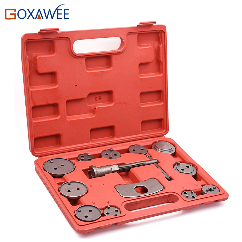 GOXAWEE 13pcs Universal Car Disc Brake Caliper Wind Back Brake Piston Compressor Tool For Car Automobiles Garage Repair Tools 2 pair universal car 3d style disc brake caliper covers front rear