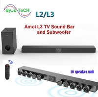 Amoi L3/L2 Wall hanging pure wood speaker tv sound bar home theater Subwoofer Bluetooth 3D surround sound 10 horn Integrate