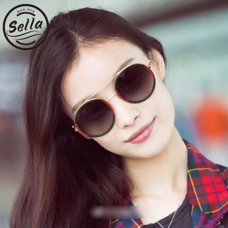 Sella New Arrival Retro Fashion Women Round Sunglasses Brand Designer Double Color Bees Trending Summer Sun Glasses