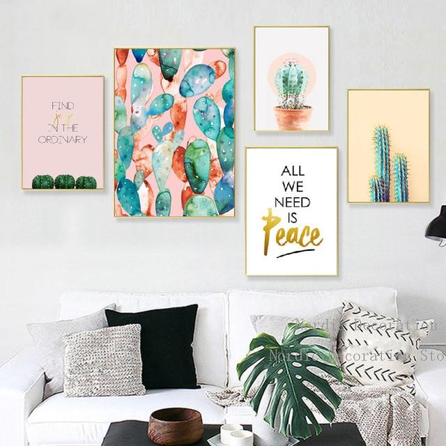 Nordic Poster Cactus Decoracion Posters And Prints Plant Leaf Cactus