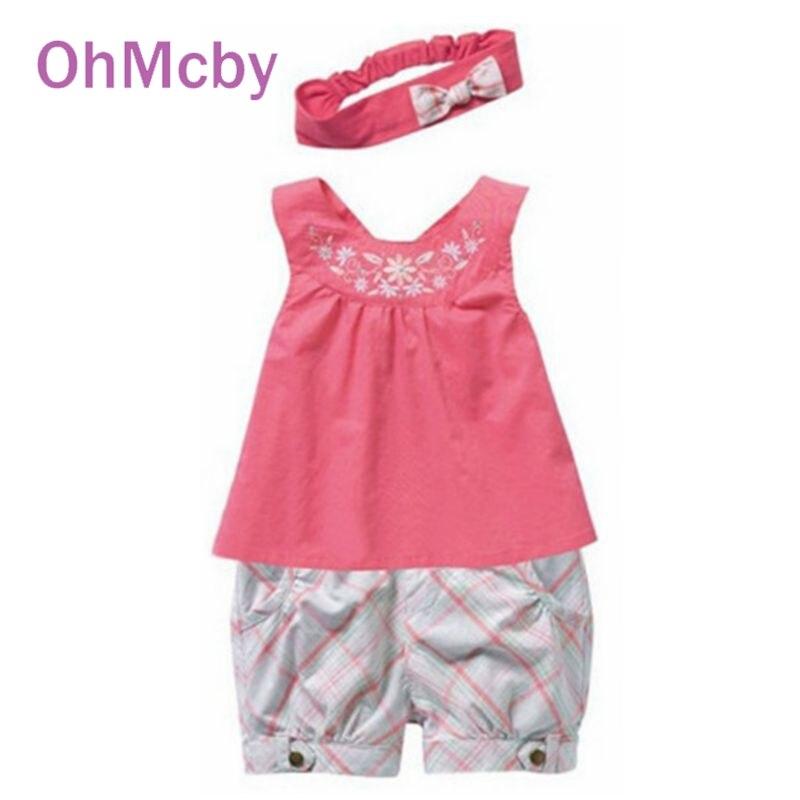 ファッションピンク赤ちゃんvestidosスーツベビーハンカチノースリーブ刺繍入り花tシャツギンガムチェック柄