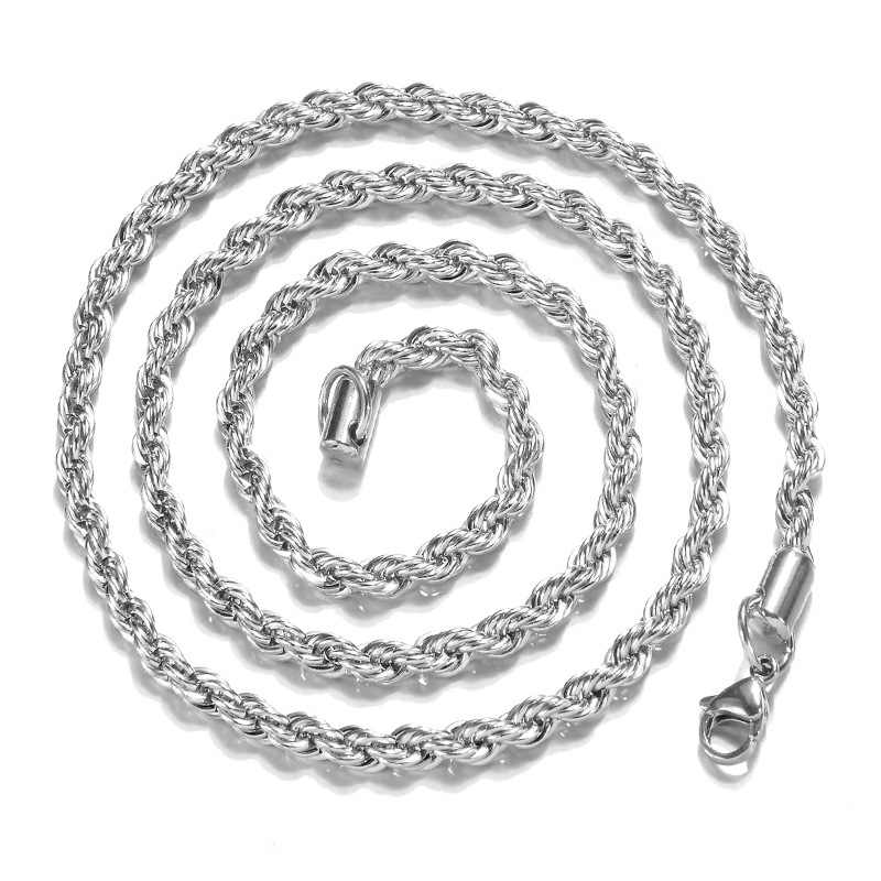 2mm Rope Chain Necklace For Women Men Choker Colar Kolye Necklaces & Pendants 925 Sterling Silver Jewelry Charms Jewellery Gift