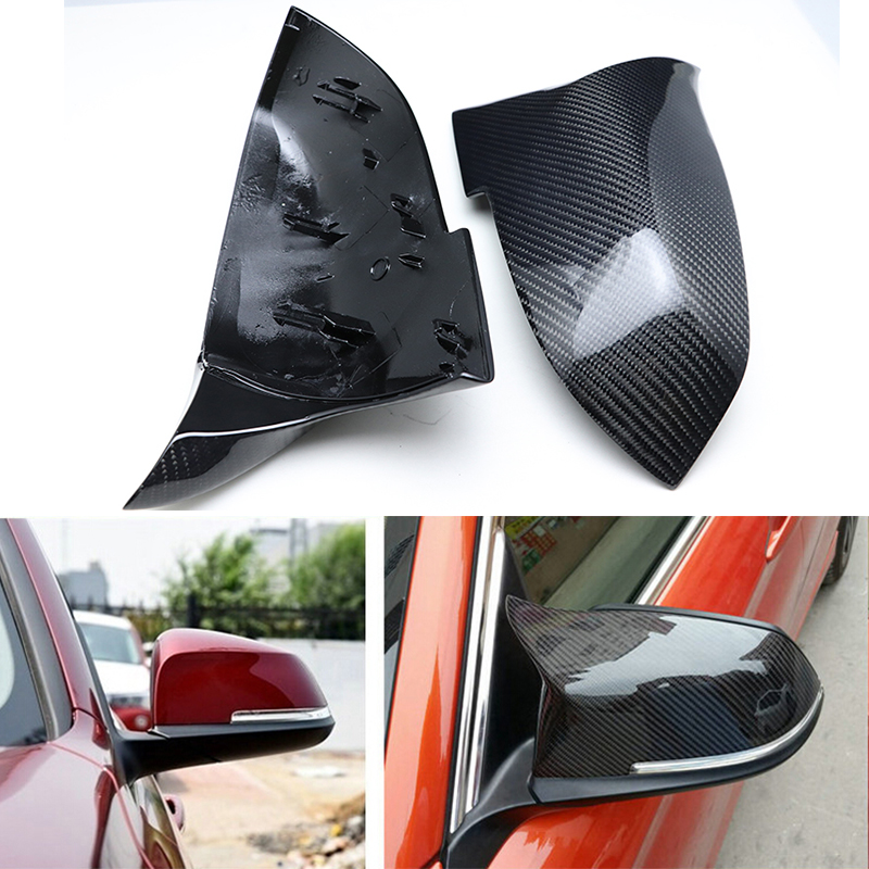 Top Quality Replacement Carbon Fiber M3 M4 Look Rear View Mirror Cover Caps for BMW 4 Series F32 F33 F36 420i 428i 435i 2014-18 for bmw 4 series f32 coupe 420i 428i 430i 435i carbon fiber rear spoiler performance style 2014 2015 2016 2017