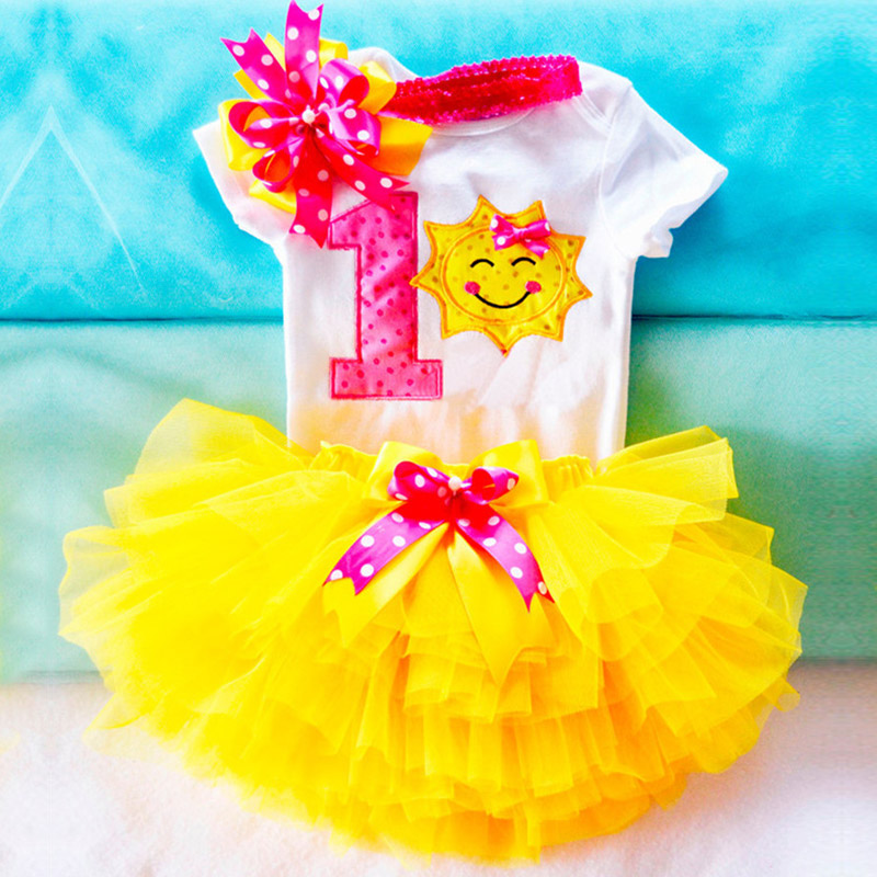 купить Newborn Baby Clothing Sets Top+Headband +Tutu Dress Infant Party Sunflower Girl Toddler Bebes 1 Year Birthday Outfits Kids Suits по цене 505.04 рублей