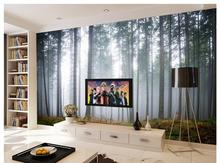 3D wallpaper custom murai non-woven wallpaper A new shock scenery sofa setting wall green trees home decoration(China)