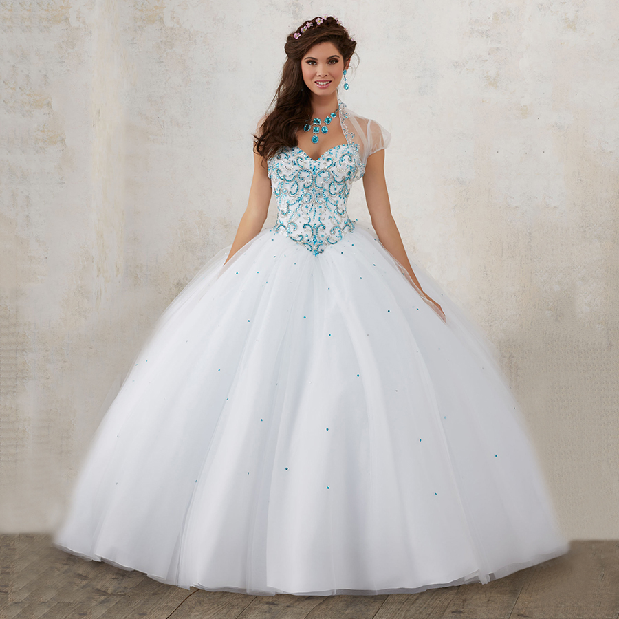 Attractive Plus Size Pageant Ball Gowns White Puffy Party Dress With Jacket  Quinceanera Dresses 2017 Turquoise Sweetheart Crystals In Quinceanera  Dresses From Weddings ... Images