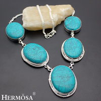 HERMOSA Jewelry Unique Fashion Huge Green Turquoise 925 Sterling Silver Women Necklace 16 Inches HM409