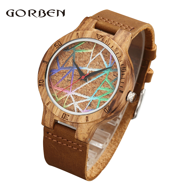 Bamboo Wood Watch Men 2018 Creative Quartz Watches Modern Wooden Wristwatch Analog Nature Fashion Leather Simple Unique Clock yisuya creative fashion full bamboo triangular quartz wrist watch men simple unique novel analog hollow bangle nature wood clock
