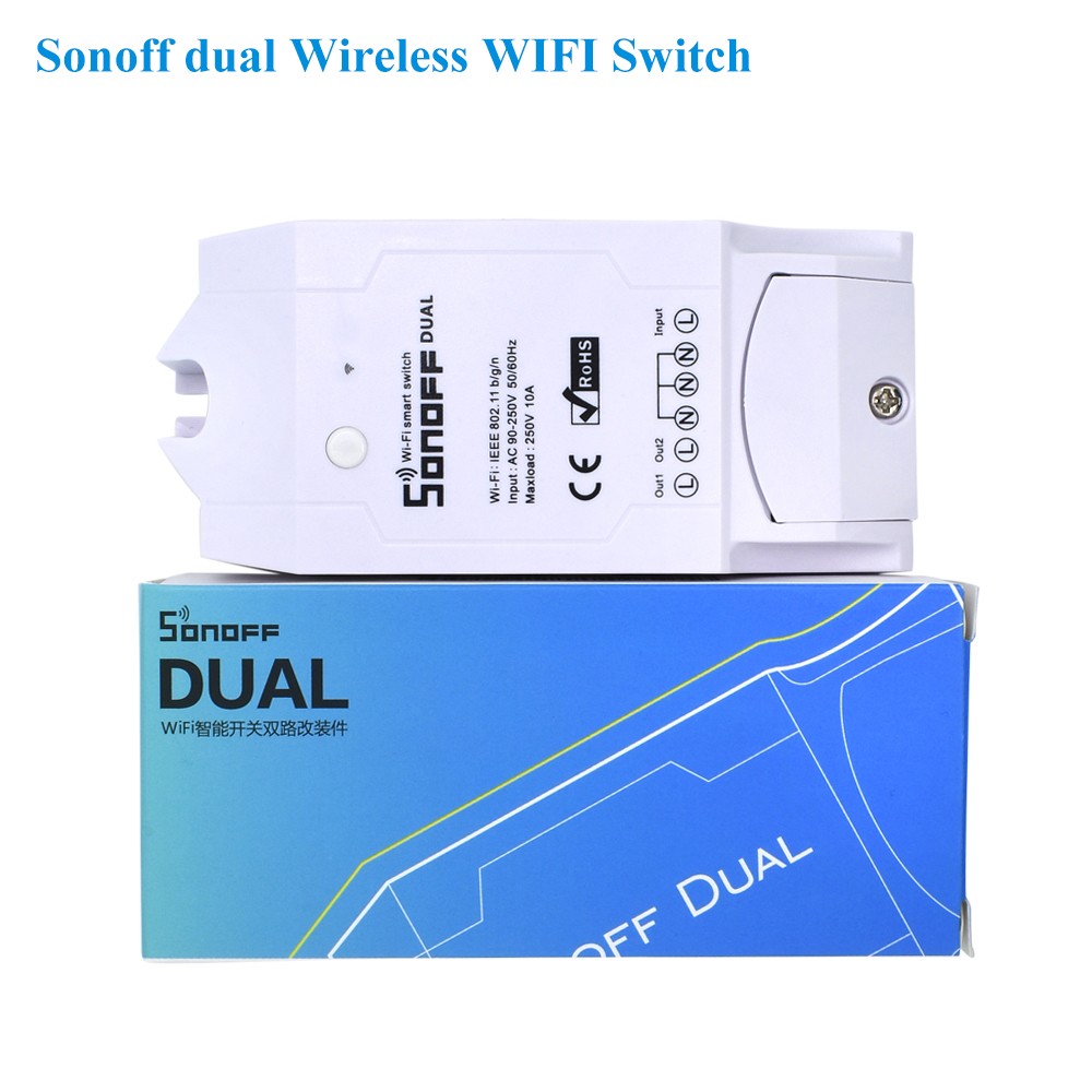 Sonoff Dual 2CH 16A 3500W Wifi Smart Switch Light Remote Control Timer Wireless 2 Gang Works With Amazon Alexa Google Home