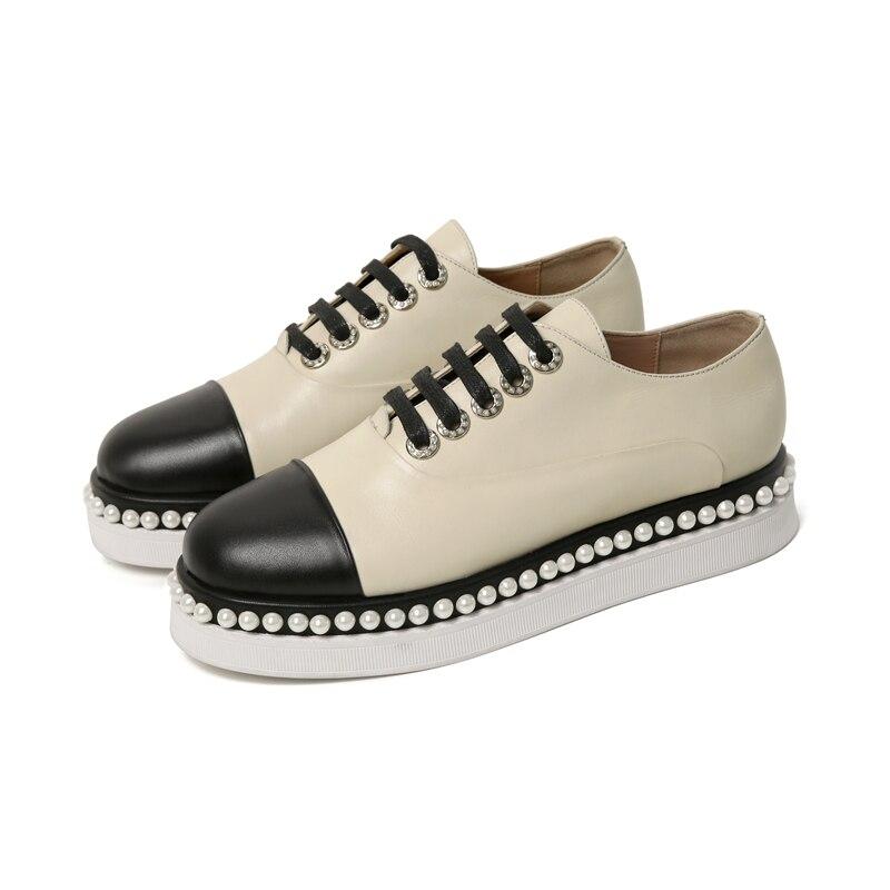 Femmes Femme Sneakers Perles Véritable Cuir Pour Eté De Confortable Célèbre 2019 Beige Sarairis Appartements Qualité Meilleure Chaussures Marque Printemps wq1TzX68x