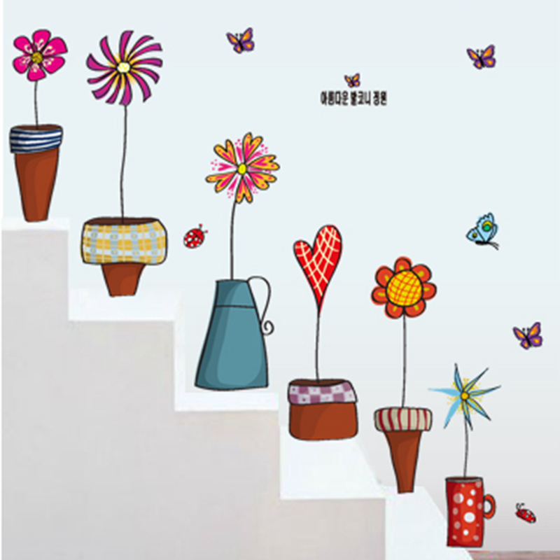 Zs Sticker stair decals pot flowers wall stickers for kids
