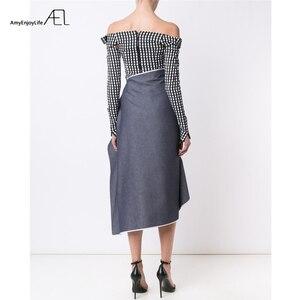 Image 2 - AEL גבוה מותניים טלאי ג ינס חצאית להתנפנף גבירותיי Longuette 2017 Saia Midi קיץ מסלול נשים של בגדי נהיגה לראשונה חצאית כיסא