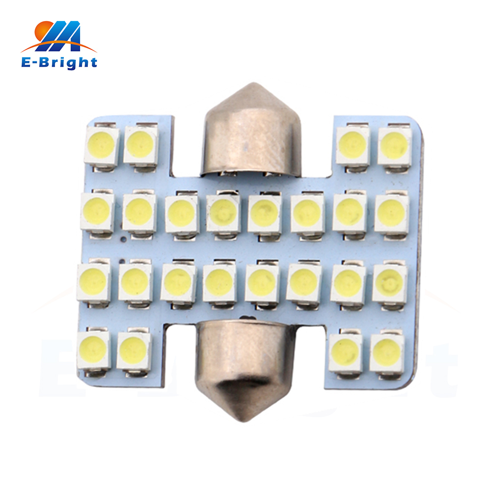 6-200pcs 31mm 12V 1210 1206 24 SMD LED Festoon Lamp Ceiling Light Auto Dome Bulbs Reading Pate number Lights Free Shipping