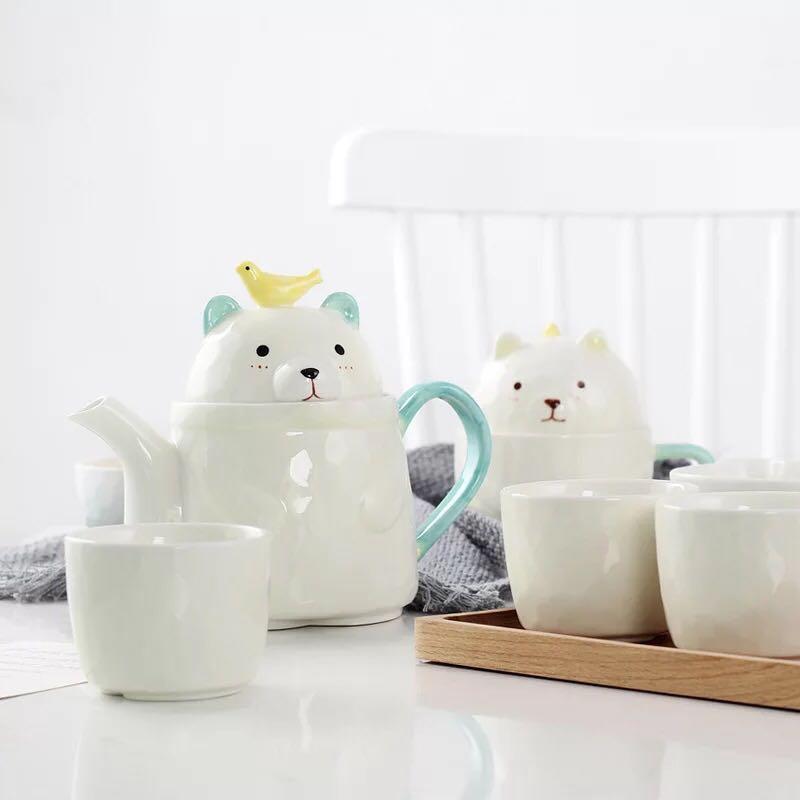 Mignon ours en céramique théière ensemble créatif dessin animé Pot tasse ensemble [1 Pot 4 tasses] Style coréen thé bouilloire tasses