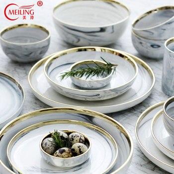 Nordic di Marmo di Ceramica Oro Intarsio Cena Piatti Per Tavolo Da ...