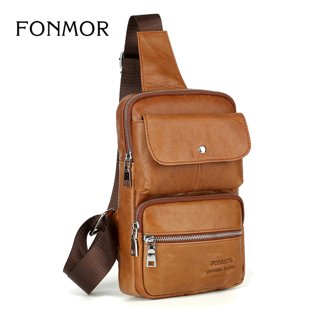 1bcf11461a Brand Genuine Leather Mens Chest Pack Sling Bag Shoulder Bags Men Messenger  Crossbody Bag for Man