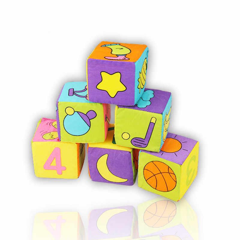 Горячее предложение! Распродажа! 6 шт. в 1 комплект новая одежда для младенцев строительные блоки Мягкая погремушка со звуком Ранние развивающие игрушки для детей Мягкие блоки куб Новый