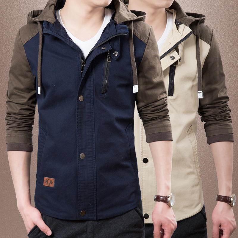 Mens coats spring autumn jacket turn-down collar male cotton blouse Korean style slim casual Mens jacke trend Hoodie ccol coat ...