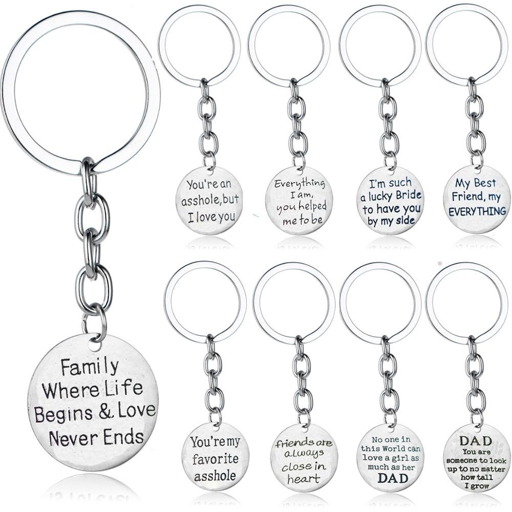Valentines Fathers Day Gift For Dad Daddy Family Best Friend Keychain Lovers Couple Keyring BFF Friendship Key Chains