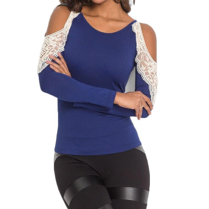 Women Autumn O neck Lace Off Shoulder Blouse Shirt Fashion Sexy Slim Blue Blouse Tops For Women Ladies Clothes