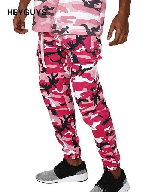 HEYGUYS 2018 pantalones de moda hombres rosa amarillo pantalones de  camuflaje de la marca de los 9557ab8b0e63