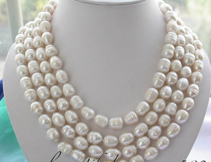 "FREE Shipping Z3003 Long 80"" 14mm White Rice Freshwater Pearl Necklace"
