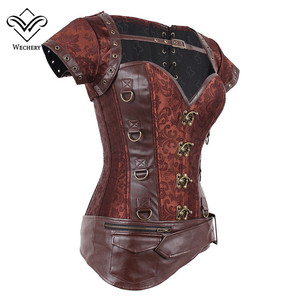 Image 2 - Corsets and Bustiers Slimming Steampunk Corset Gothic Brown Corsages Sexy  PU Leather Buckle Belly Slimming Sheath S 6XL