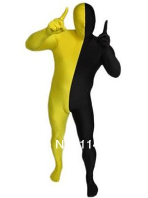 Yellow & Black Split Lycra Spandex Full body Zentai Suit