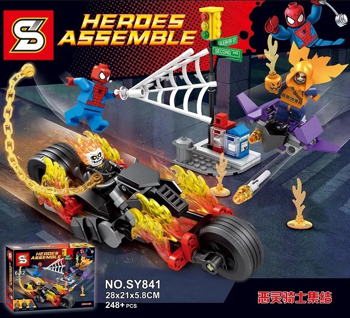 SY841 Spider-Man Ghost Rider Team-UP Motorcycle Hobgoblin Super Heroes AVENGERS Assemble action Figura Building Blocks Kids Toys