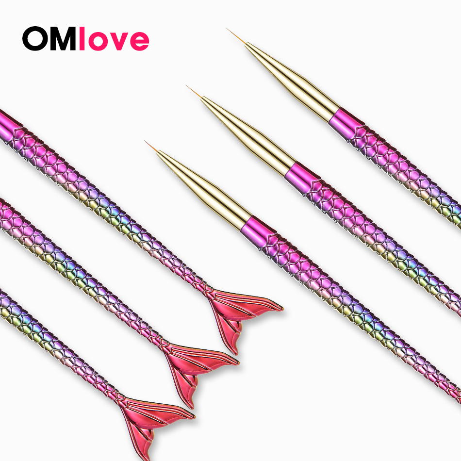 ROHWXY Mermaid Nail Art Brush Painting For Fingernail Design Tip Nail Brush For Manicure Gel Brush  For Drawing On Nails Tools