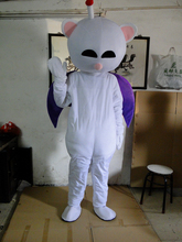 Naughty White Bat Mascot Costume With Small Nose Big Mouth Free shipping