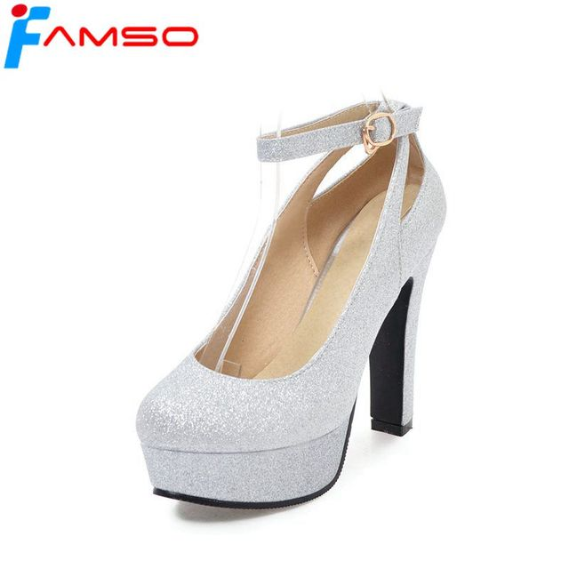 1bc3d2d3019 FAMSO 2018 New Spring Arrival Women Pumps Black Gold Silver High Heels  Glitter Autumn Ankle Strap Prom Pumps For Women