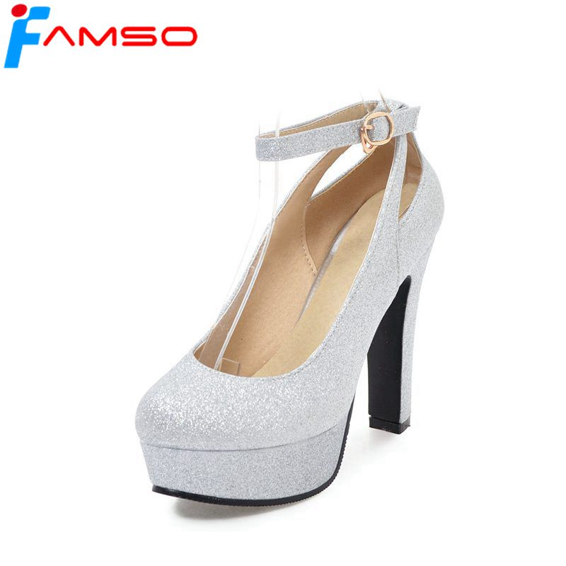 FAMSO 2018 New Spring Arrival Women Pumps Black Gold Silver High Heels Glitter Autumn Ankle Strap Prom Pumps For Women