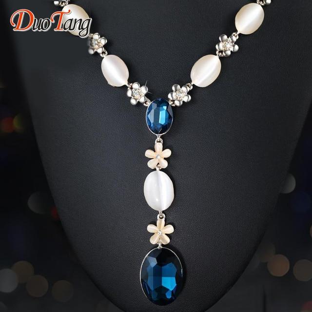 DuoTang Classic Chapado En Oro Opal Flores Colgante Collar de Moda Elegante Cristal Azul Largas Cadenas Collar de Mujer Regalo de La Joyería