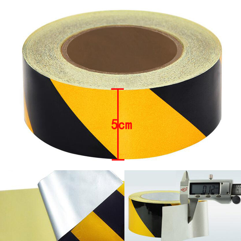5cm Width Self-Adhesive Reflective Sticker Warning Strip Decal Corrosion Resistance