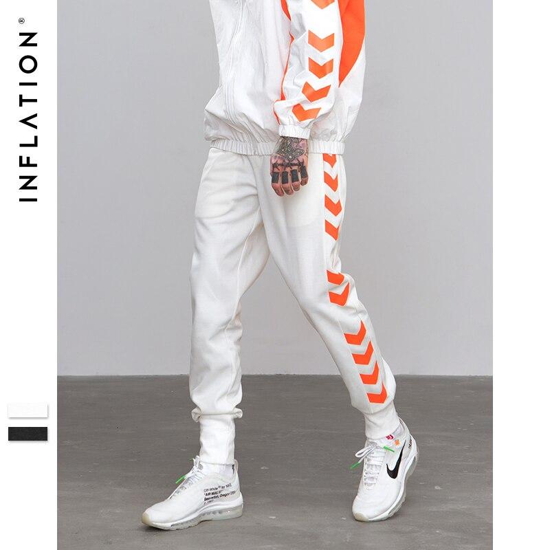 INFLAÇÃO de 2018 A/W Linha de Tráfego Da Pista Impresso Masculino Streetwear Moletom Lado Faixa Calças Calças Basculador Casuais Calças 8829 w