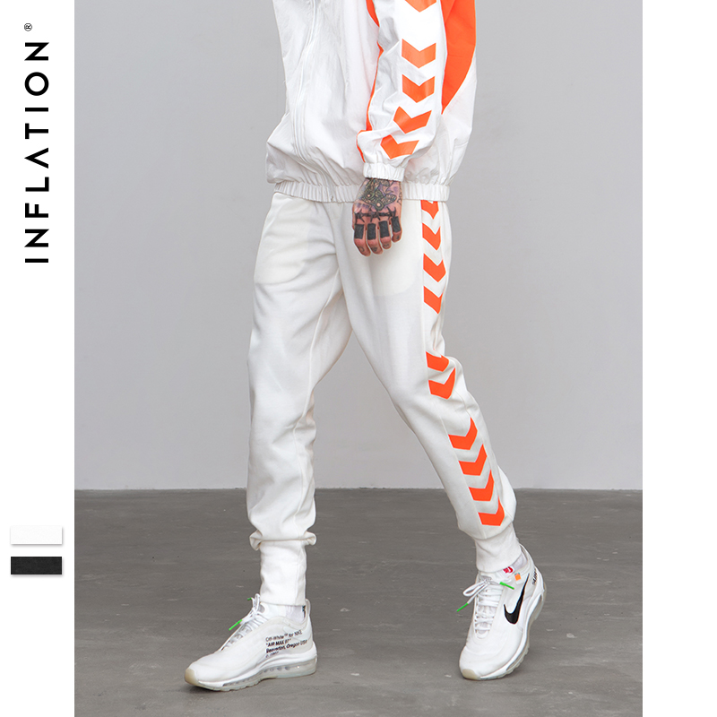 INFLATION 2018 A/W Sweatpants lateral Tráfico carril línea impresa Streetwear pista Pantalones Casual Jogger pantalones 8829 W
