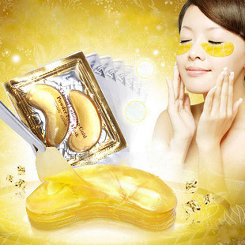 200pcs=100packs Crystal Collagen Gold Powder Eye Mask Sleeping Mask Women Girls Eye Patches Eyes Care Moisturizing Skin Care