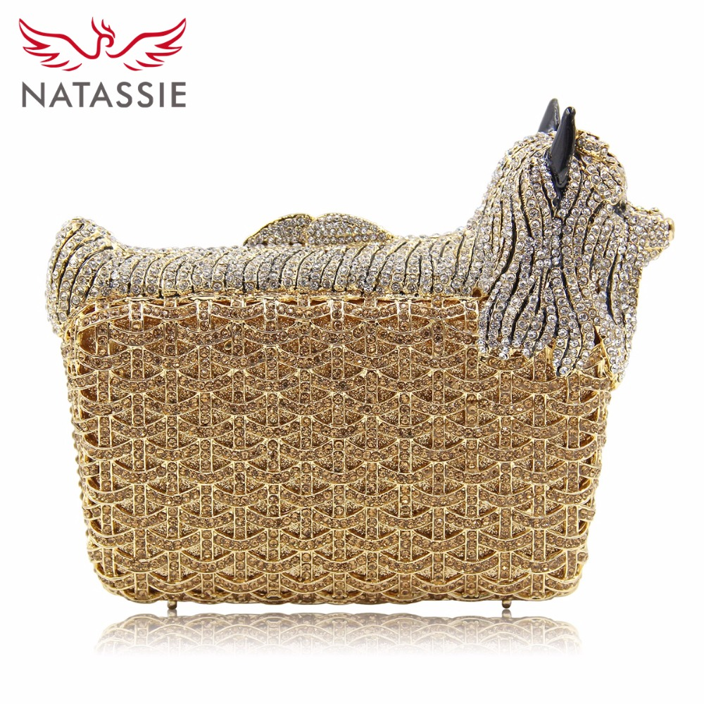 NATASSIE Women Evening Bags Puppy Shape Crystal Clutch Wedding Purse Ladies Party Bag natassie women crystal clutches bags ladies evening bag female red purple party clutch wedding purse