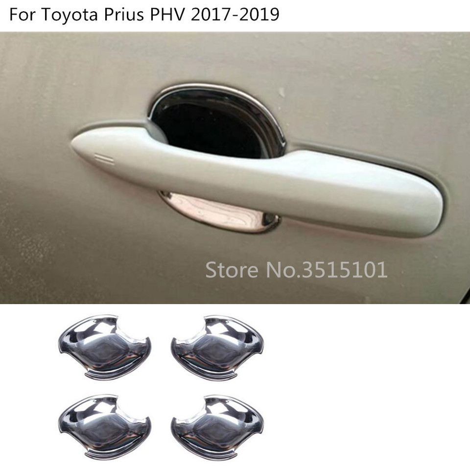 For Toyota Prius Prime PHV Interior Door Handle Bowl Cover Trim 4pcs 2017-2018