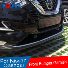 цена на ACCESSORIES FIT FOR NISSAN QASHQAI J11 2017-18 CHROME FRONT BUMPER PROTECTOR LIP SPOILER COVER TRIM MOLDING GARNISH GUARD GRILLE