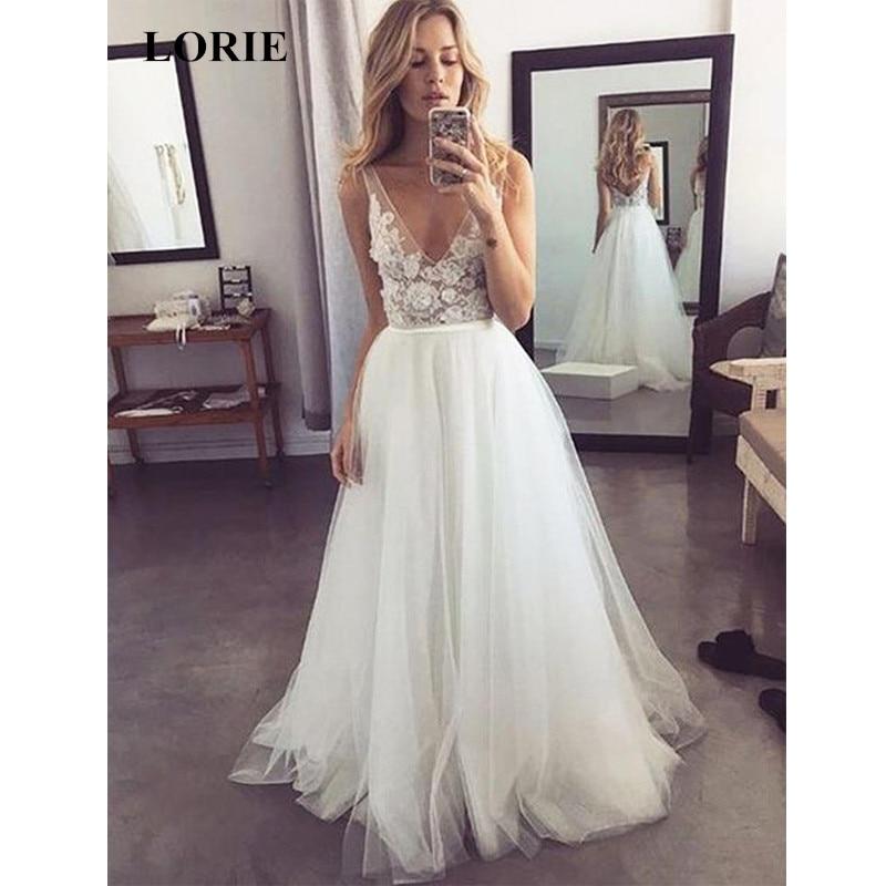 LORIE 2019 Popular V Neck Formal A Line Tulle Bridal Long Beach Wedding Dress White Ivory