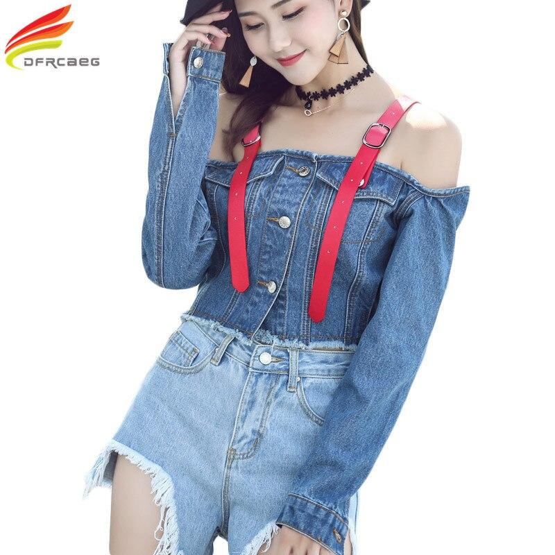 Off Shoulder Sexy Denim   Jacket   Women 2019 Fashion Autumn Slash Neck Backless Loose   Basic   Jeans Coat Halter Suspenders Short Tops