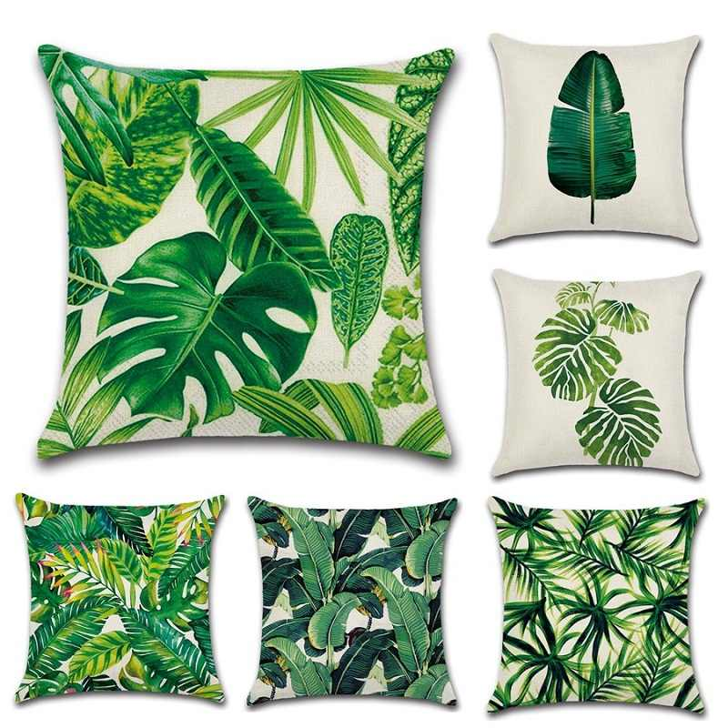 Africa Tropical Plant Printed Cushion Cover Green Leaves Linen Pillow Cases  Soft Chair/Car/Sofa Pillow Cover Home New Year Decor