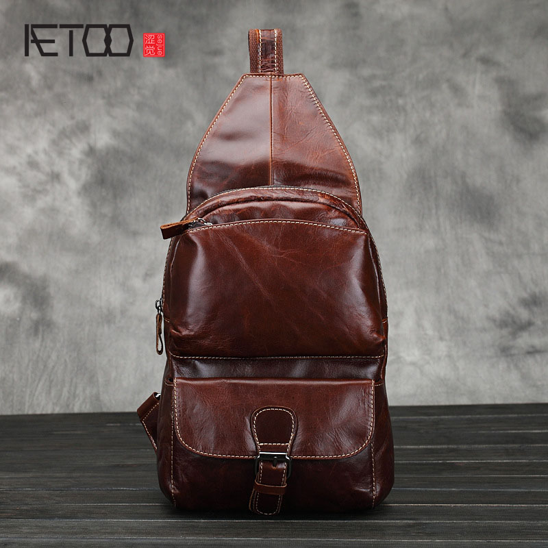 AETOO New oil wax skin men's chest bag head layer of leather men leisure shoulder bag Messenger bag tide aetoo new real leather men bag oil wax cowhide retro men shoulder messenger bag head layer leather casual shoulder bag