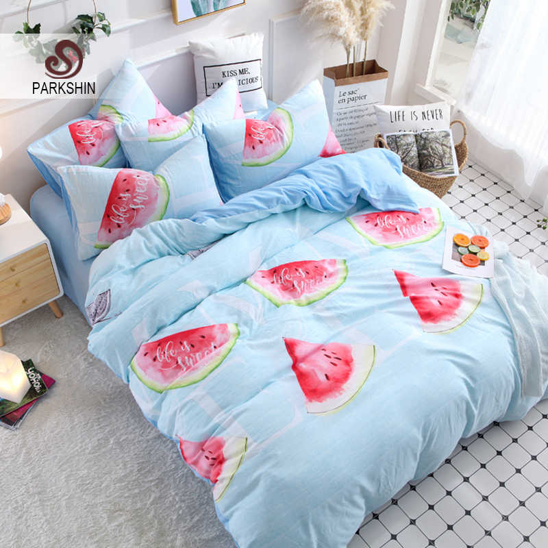 ParkShin Watermelon Blue Bedding Set Soft Duvet Cover Bedspread Pillowcase Single Double Queen King Size Adult kids Bed Linens