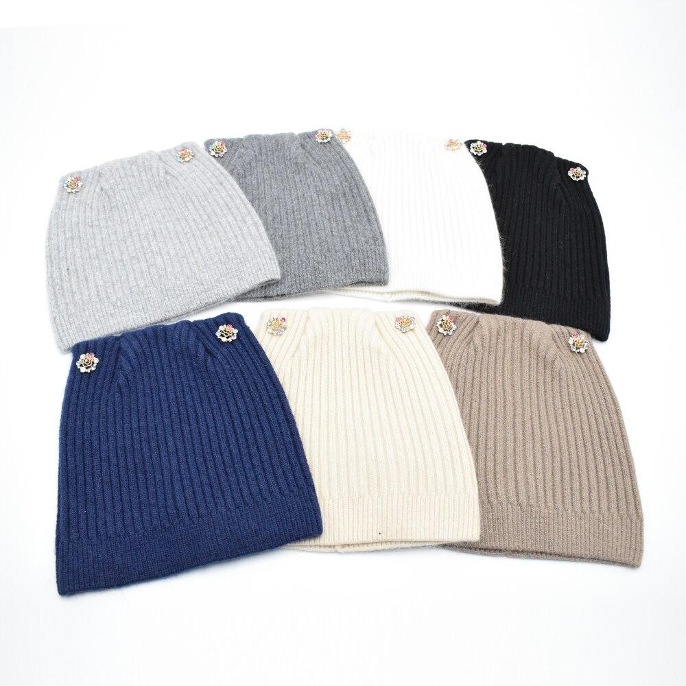 Winter Cat Beanie Hat Ladies Knit Hats For Women wool Beanies Caps Luxury camellias Diamond Beanie