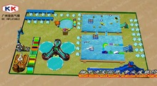 Huge Customized Made Inflatable Ground Water Slide Park With Water Pool For Hot Summer